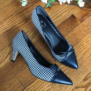 Brooks Navy Brothers Gingham Point Toe Heels